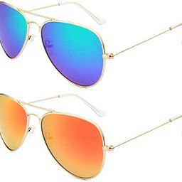 Livhò Sunglasses for Men Women Aviator Polarized Metal Mirror UV 400 Lens Protection | Amazon (US)