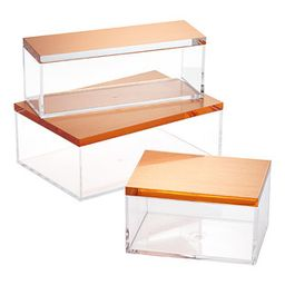 Box Clear w/Lid Brushed Copper | The Container Store