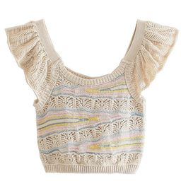 'Audrey' Ruffled Mixed Color Knitted Top | Goodnight Macaroon