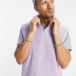ASOS DESIGN oversized knitted half zip sweater vest in purple   ASOS (Global)