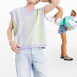 ASOS DESIGN knitted vest in gingham stripe   ASOS (Global)