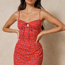 Ditsy Floral Ruched Cup Slip Dress   Miss Pap UK