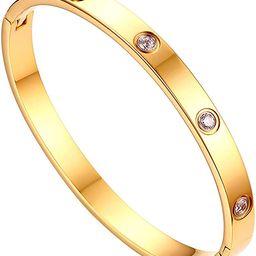 JewelryWe Schmuck Damen Armreif Edelstahl Zirkonia einfache Stil Liebe Armband 6mm breit mit Schl...   Amazon (DE)