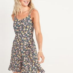 Fit & Flare Sleeveless Floral-Print Linen-Blend Dress for Women | Old Navy (US)