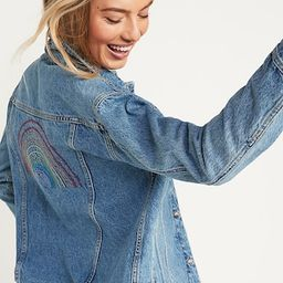 Embroidered Pride Boyfriend Jean Jacket for Women | Old Navy (US)