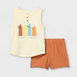 Toddler Boys' 2pc 'Surfboard' Henley Tank Top & Shorts Set - art class™ Brown/White | Target