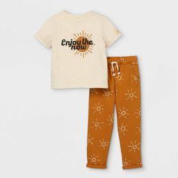 Toddler Boys' 2pc 'Enjoy The Now' Short Sleeve T-Shirt & Jogger Pants Set - art class™ Gold | Target