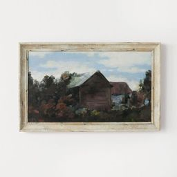 """16"""" x 10"""" House Amidst The Trees Framed Canvas - Threshold™ designed with Studio McGee   Target"""