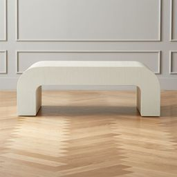 """Horseshoe Ivory Lacquered Linen 46"""" Coffee Table + Reviews 