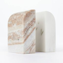 """5"""" x 3.5"""" Marble Stone Bookends Natural/White - Threshold™ designed with Studio McGee   Target"""