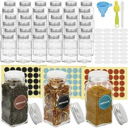 Virgooer 36 Pcs Glass Spice Jars with 105 Spice Labels 4oz Square Seasoning Spice Containers with... | Amazon (US)