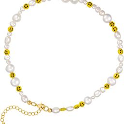 Bohemian Summer Smiley Face Pearl Necklaces And Bracelet Set Irregular Pearl Choker Necklace Smil...   Amazon (US)