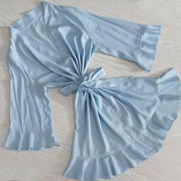 Light Blue Cotton Robe, Flower Girl Robe, Cotton Robe, Kid Robe, Bridesmaid robe, Wedding Party R... | Etsy (US)