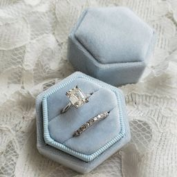 Velvet Ring Box, Baby Blue | Hexagon Double Ring Box | Wedding Ring & Engagement Ring Box, Ring B... | Etsy (US)