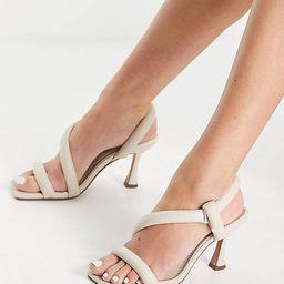 ASOS DESIGN Hanson padded mid heeled sandals in off white | ASOS (Global)