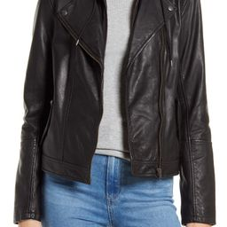 Leather Moto Jacket with Removable Hood | Nordstrom