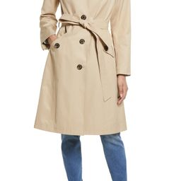 Water Repellent Belted Trench Coat with Removable Hood   Nordstrom