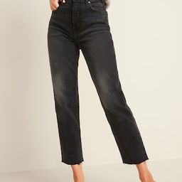 Extra High-Waisted Sky-Hi Straight Raw-Hem Black Jeans for Women   Old Navy (US)