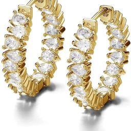 Damen Ohrringen 18 karat vergoldet Für Frauen Creolen gold kleine Ohrringe Grösse 21 mm hängen...   Amazon (DE)