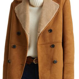 Double Breasted Faux Shearling Coat   Nordstrom