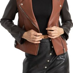 Two-Tone Faux Leather Moto Jacket | Nordstrom