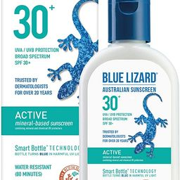 BLUE LIZARD Active Mineral Sunscreen with Zinc Oxide/SPF 30/Water & Sweat Resistant/UVA/UVB Prote...   Amazon (US)
