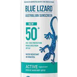 BLUE LIZARD Mineral Active Sunscreen SPF 50+ Spray, 5 Fl Oz   Amazon (US)