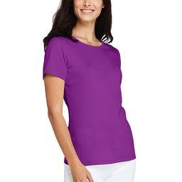Women's Tall All Cotton Short Sleeve Crewneck T-shirt - Lands' End - Purple - L | Lands' End (US)