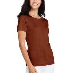 Women's All Cotton Short Sleeve Crewneck T-shirt - Lands' End - Orange - L | Lands' End (US)
