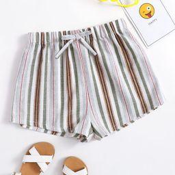 SHEIN Girls Striped Knot Front Shorts   SHEIN