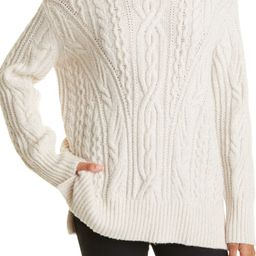 Cable Extrafine Merino Wool Blend Mock Neck Sweater | Nordstrom
