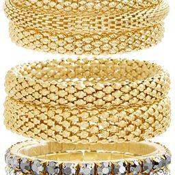 Steve Madden Yellow Gold Tone and Black Rhinestone Stretch Bangle Bracelet Set For Women, One Siz...   Amazon (US)