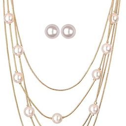 Jones New York White Pearls Multistand Gold Long Necklace Set with Pearl Earrings   Amazon (US)