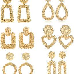 ATIMIGO Statement Drop Earrings Large Metal Geometric Gold Dangle Drop Earrings for Women Girls   Amazon (US)