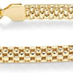 Miabella 18K Gold Over Sterling Silver Italian 4mm Mesh Link Chain Bracelet for Women Teen Girls ...   Amazon (US)