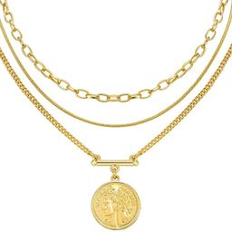 LANE WOODS Layered 18k Gold Plated Necklaces for Women - Multilayer Coin Medallion Pendant Neckla...   Amazon (US)