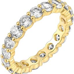 PAVOI 14K Gold Plated Cubic Zirconia Rings   3.0mm Eternity Bands   Gold Rings for Women   Amazon (US)
