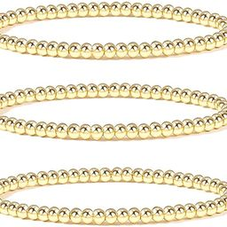 KSQS Gold Beaded Bracelets for Women, 14K Gold Plated Bead Ball Stackable Stretch Elastic Bracele...   Amazon (US)