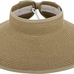 Simplicity Women's UPF 50+ Wide Brim Roll-up Straw Sun Hat Sun Visor   Amazon (US)