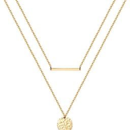 Estendly Dainty Gold Layered Bar Neckalce Moon Pendant Lariat Y Necklace 14K Gold Simple Necklace...   Amazon (US)
