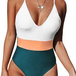 CUPSHE Women's One Piece Swimsuit V Neck Cross Back Color Block Beach Swimwear Bathing Suits   Amazon (US)