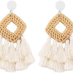 WFYOU Rattan Tassel Earrings for Women Bohemian Statement Handmade Woven Drop Dangle Earrings   Amazon (US)