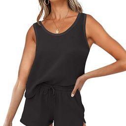 ZESICA Women's Summer Waffle Knit Pajama Set Sleeveless Tank Top and Shorts Loungewear Sweatsuit ...   Amazon (US)