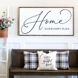Home is Our Happy Place Sign | Living Room Sign | Wall Decor | Wood Sign | Signs for Home | Home ... | Etsy (US)