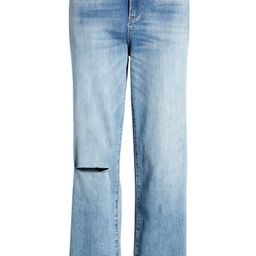 Baxter Super High Waist Ripped Raw Hem Straight Leg Jeans   Nordstrom
