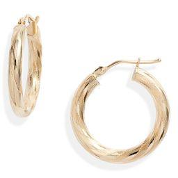 14K Gold Textured Hoop Earrings | Nordstrom