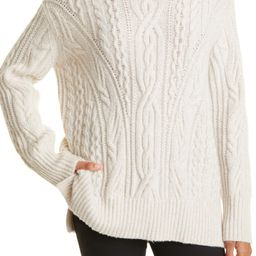 Cable Extrafine Merino Wool Blend Mock Neck Sweater   Nordstrom