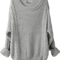 Liny Xin Women's Cashmere Oversized Loose Knitted Crew Neck Long Sleeve Winter Warm Wool Pullover... | Amazon (US)