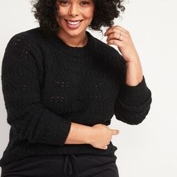 Textured Cable-Knit Pointelle Plus-Size Sweater | Old Navy (US)