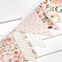 Watercolor Flowers Bunting Banner Garland, Flower garland, Nursery Bunting - Blush Pink and Gold ... | Etsy (US)